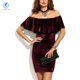 Off Shoulder Ruffled Lady Dress Gold Velvet Sexy Pack Hip Dresses