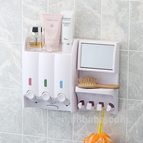 Decorative Plastic Bathroom Mirror With Cabinet Shelf Wall Support