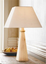 Contemporary Metal Base Wooden Table Lamp In White With Bell Lamp shade For Inn hotel home Decor