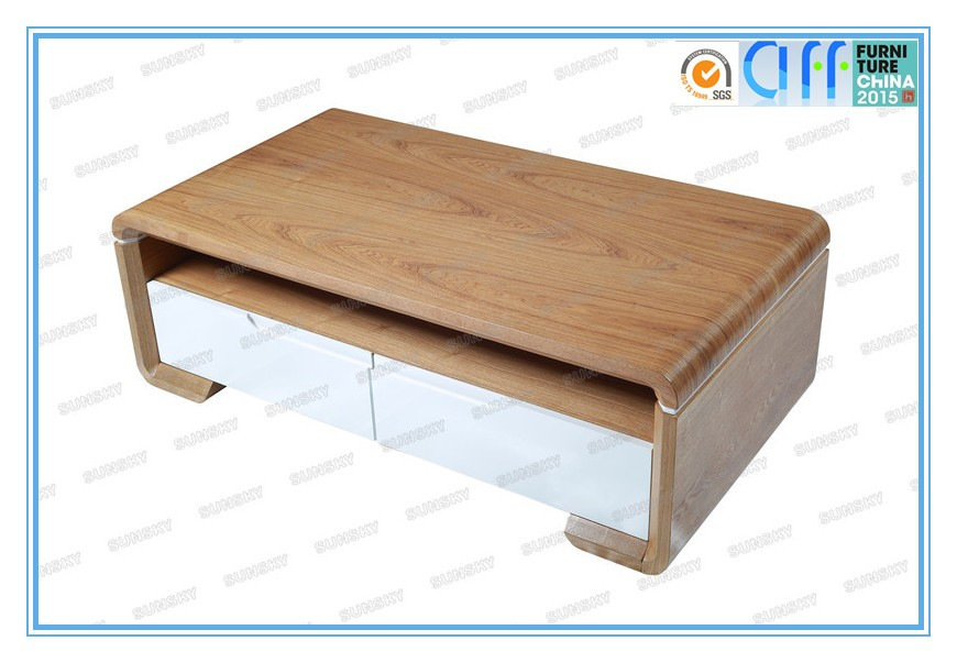 High quality furniture home hot selling design wood coffee table with white drawers 1456A