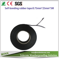 Insulating and sealing self-bonding rubber tape for joints of telecommunication cables