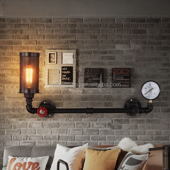 Vintage wall lamp industrial style loft balcony aisle hallway water pipe wall lamp E27 LED Edison bulb warehouse net wall light
