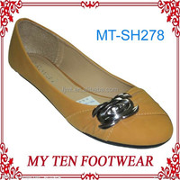 Light Brown Old Ladies Rubber Soles Flat Shoes