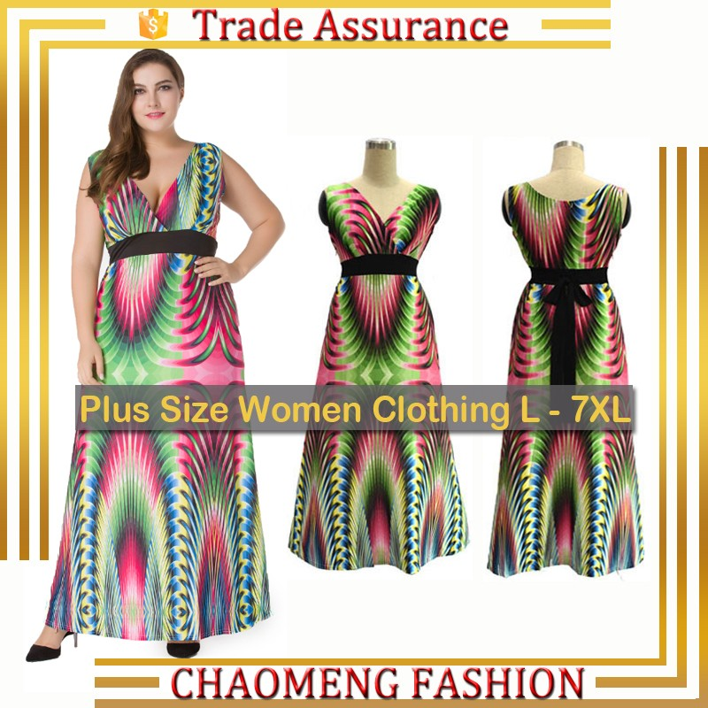5031 Fashion Floral Evening Dresses Sexy Clothes For Fat Big Women