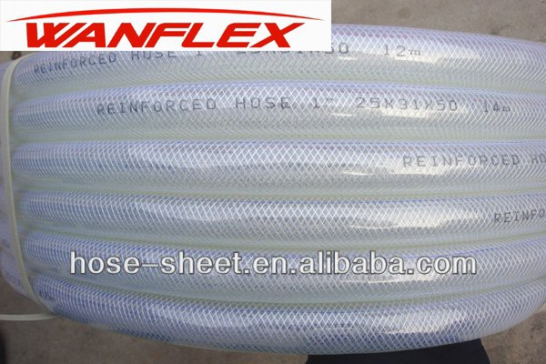 Customized 1/4Inch To 2Inch Flexible Clear Fiber Braided Reinforced PVC Water Hose/Tube With Non Smell