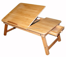 Bamboo multifunction folding laptop table with draw hot sale bed save room desk compture desk