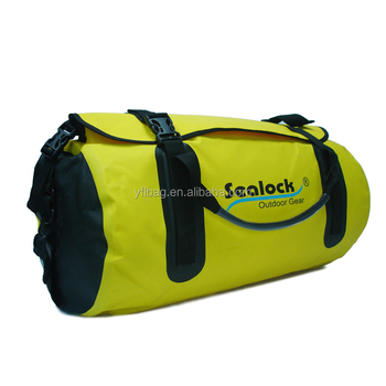 yellow waterproof folding travel duffel bag
