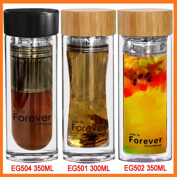 New design fancy double wall tea infuser glass tea bottle with filter and lid for office