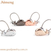 Festival small gift lovers cute baby whale metal hang ornaments promotional key chain