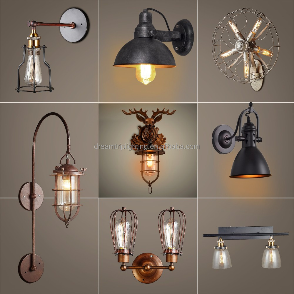 2016 fashion casual loft wireless 2 lights vitage lighting fixtures wall lamp with e27 base