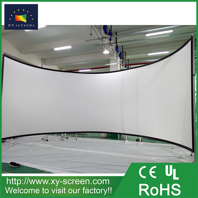 XYSCREEN 11m*4m large size wide view home theater curved frame projector screen