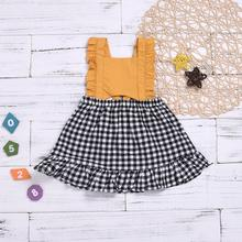 <strong>Girl's</strong> <strong>dress</strong> summer new arrived yellow backless plaid splicing princess ruffle <strong>dress</strong> for girls