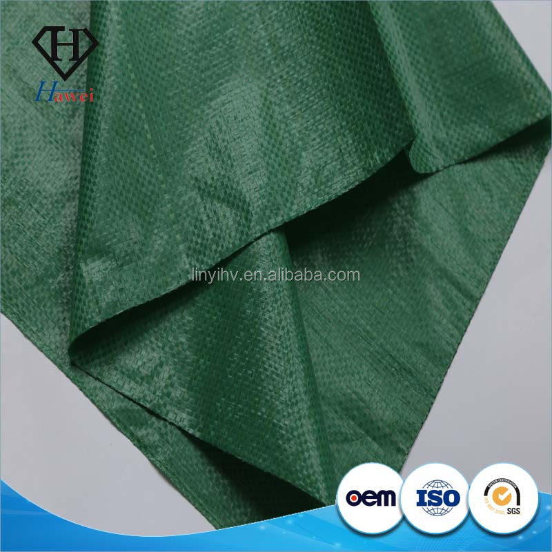 China 50*80cm green pp woven garbage bag for construction waste, wheat bran, sand, gravel