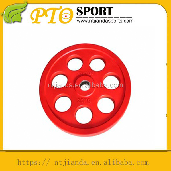 body fit weightlifting colored rubber covered barbell plate with seven holes
