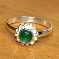 Latest Green onyx Silver Gemstone Ring, Classic Design Silver Jewellery ER1601