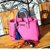 china wholesale synthetic leather pink popular handbag