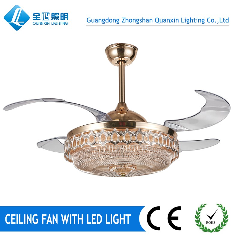 Invisible blades Ceiling fan with led light hidden blade fan light with crystal decoration