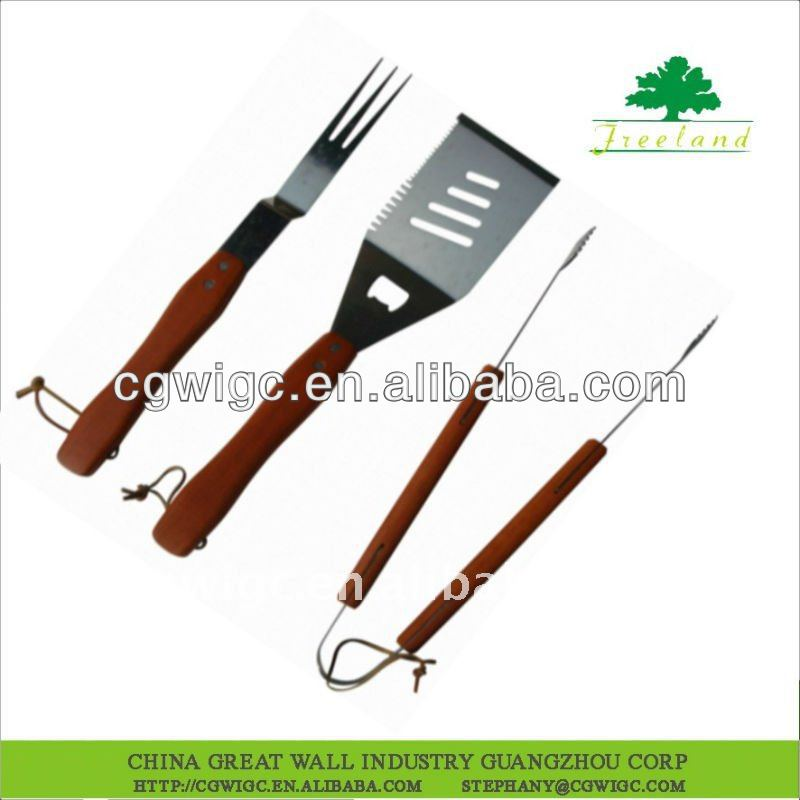 3 pcs wooden bbq tools