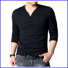 High quality 100% cotton custom plain no brand t-shirt with buttons