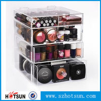 High quality 4 tiers clear acrylic makeup organizer with drawer
