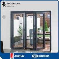 ROGENILAN 75 Australian Standard interior glass aluminum accordion doors with locks