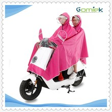 2017 GMK-008adult PVC double hoods electric scooter raincoat/poncho/motorcycle