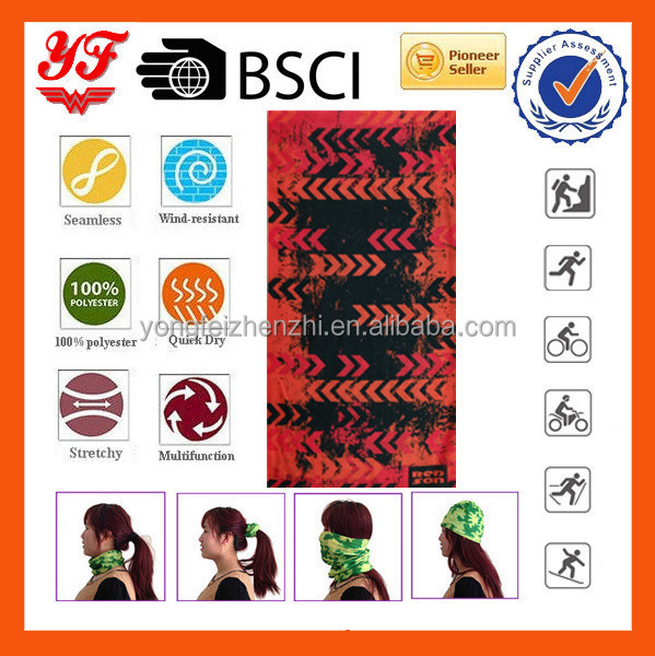 Men cycling sports 100% polyester seamless tube bandanas for sales in 2016