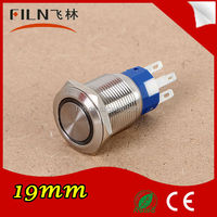 High quality LED 19mm stainless steel red emergency stop push button switch