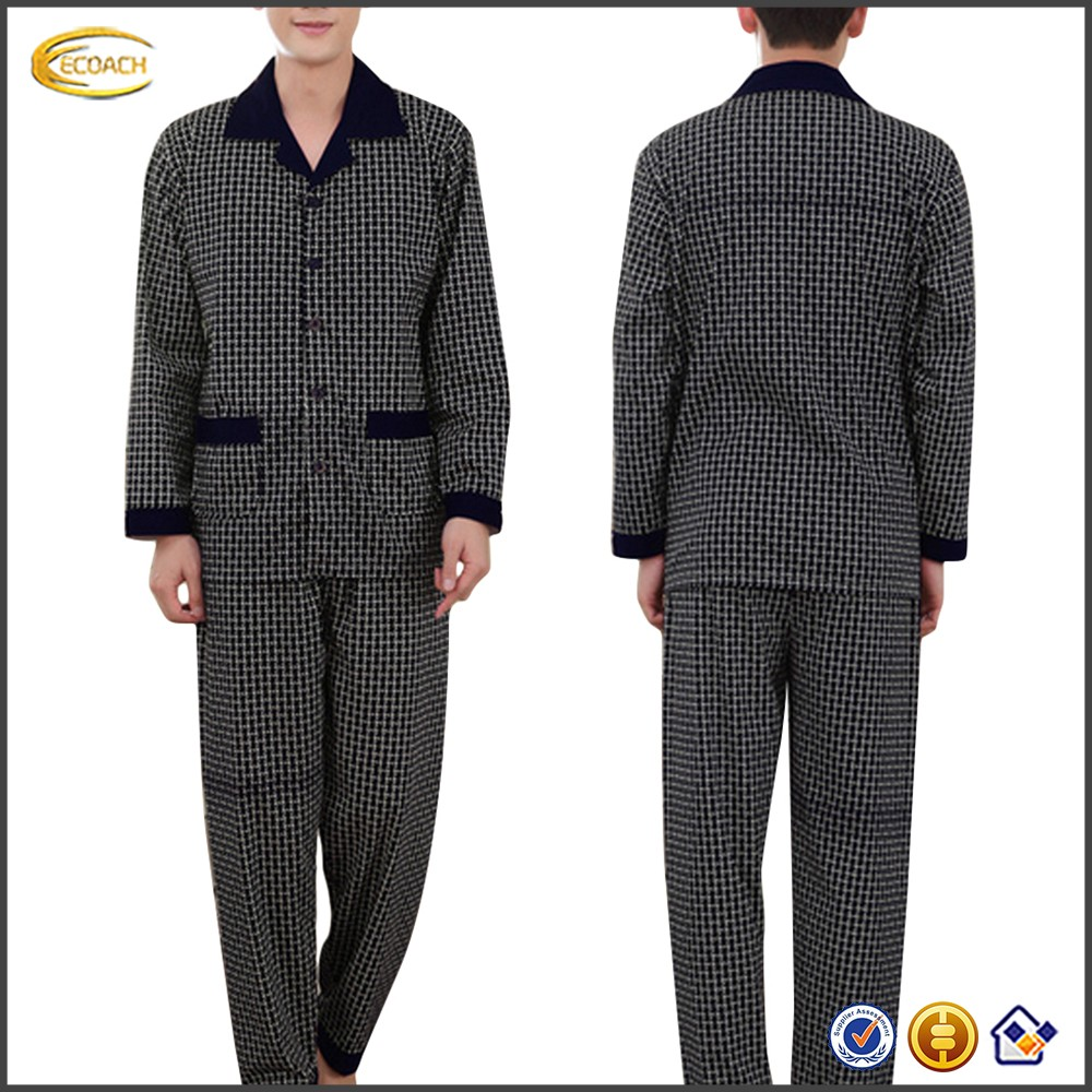 Ecoach Wholesale OEM Mens Popular Turn Down Colla Black Decorated Elastic Waistband Plaid Pattern Sleeping suits