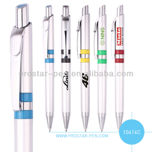 promotional silver colored plastic ballpoint pen with refill 0.7