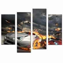 LK4150 4 Panel Oil Painting Cool Car with Smoking and Burning Tires Wall Art Painting Pictures Print On Canvas Pictures For Mode