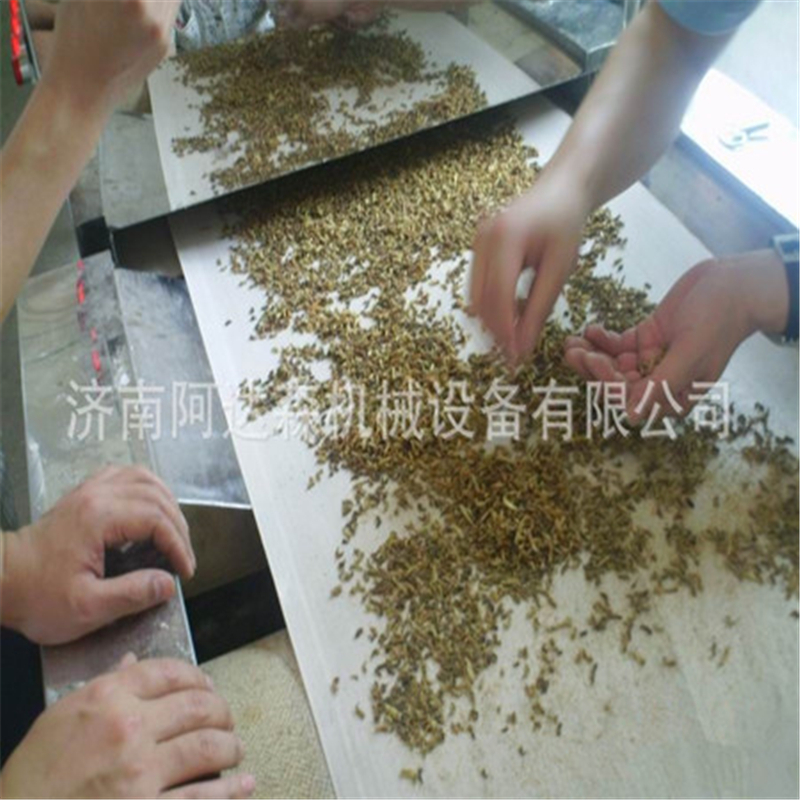 Conveyor belt microwave drying and sterilization machine for mealworm