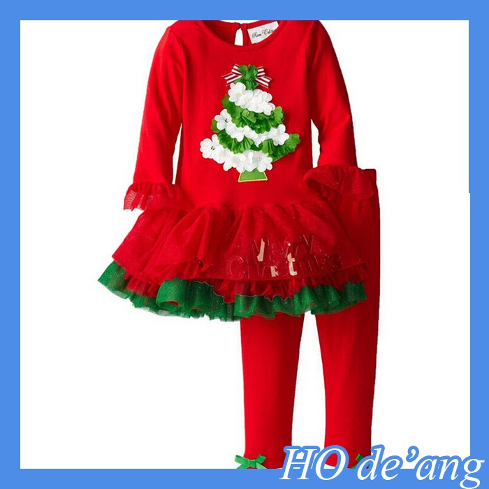 HOGIFT wholesale children's boutique clothes New Item Kids Clothes Christmas Chevron tulle dress and pant in set