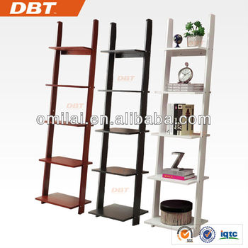 DBT High Gloss 5 tiers Bookcase Decorative Bookshelf Ladder shelves unit BLACK & WHITE & BROWN