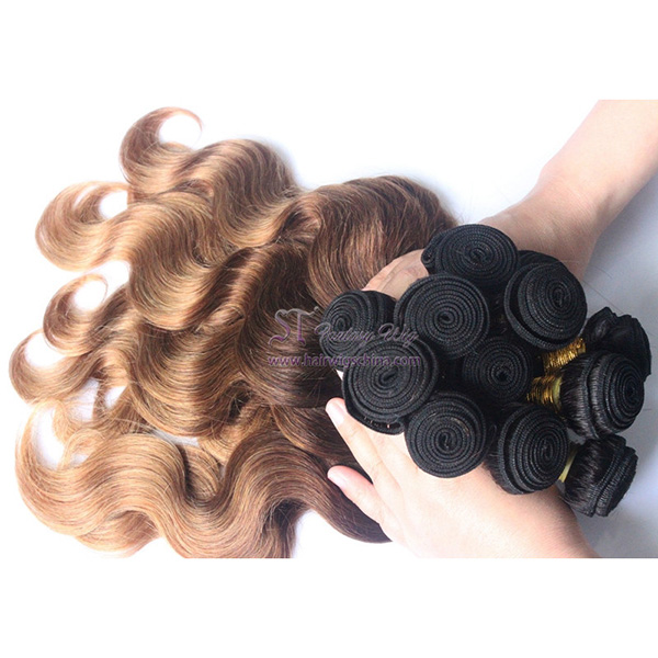 Cheap human hair weaving ombre golden blonde hair extension in zambia