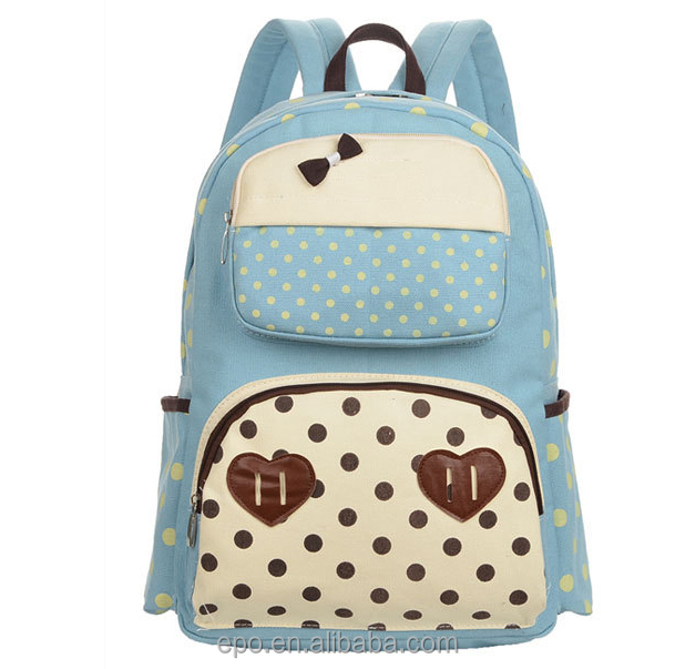 Cute style canvas material fashion school backpack 2018 with high quality