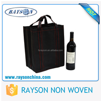 Reusable luxury & elegant non woven wine bag for christmas carry use