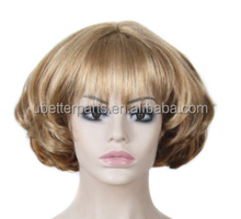 "8"" Hot Short Curly Blonde Bob Wigs African American Wig For Black Women Cosplay Cheap Synthetic Highlight Hair Wigs"