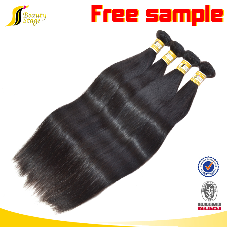 Natural color siky straight hair extensions free sample free shipping, Wholesale brazil human hair extension