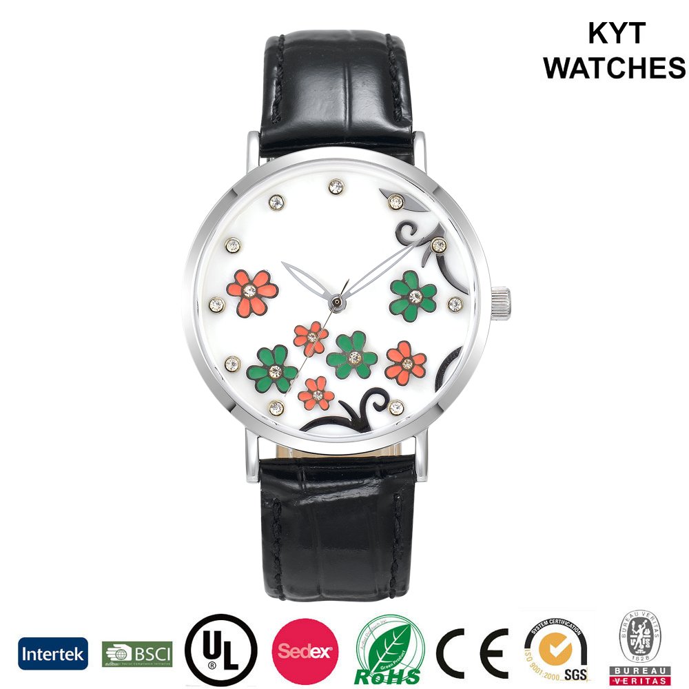 KYT flowers diamonds factory direct new design waterproof girl / women / lady fashion watch