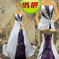 Hot Sale Factory Custom Made Long Good Quality Satin Strapless Embroidered Elagant Purple And White Wedding Dresses