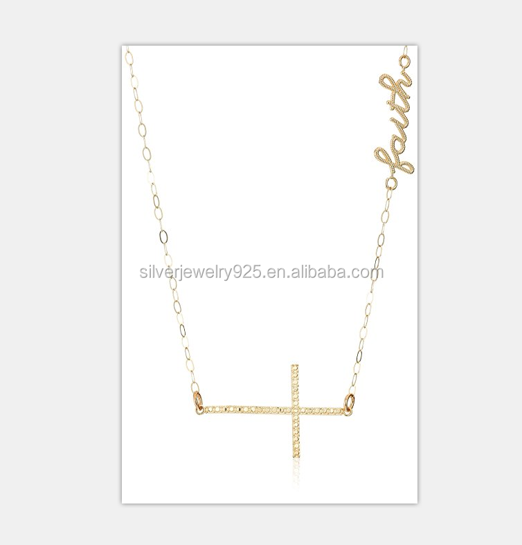 10K Polished Gold Faux Cross with Faith On The Side of Chain Necklace, 17.5