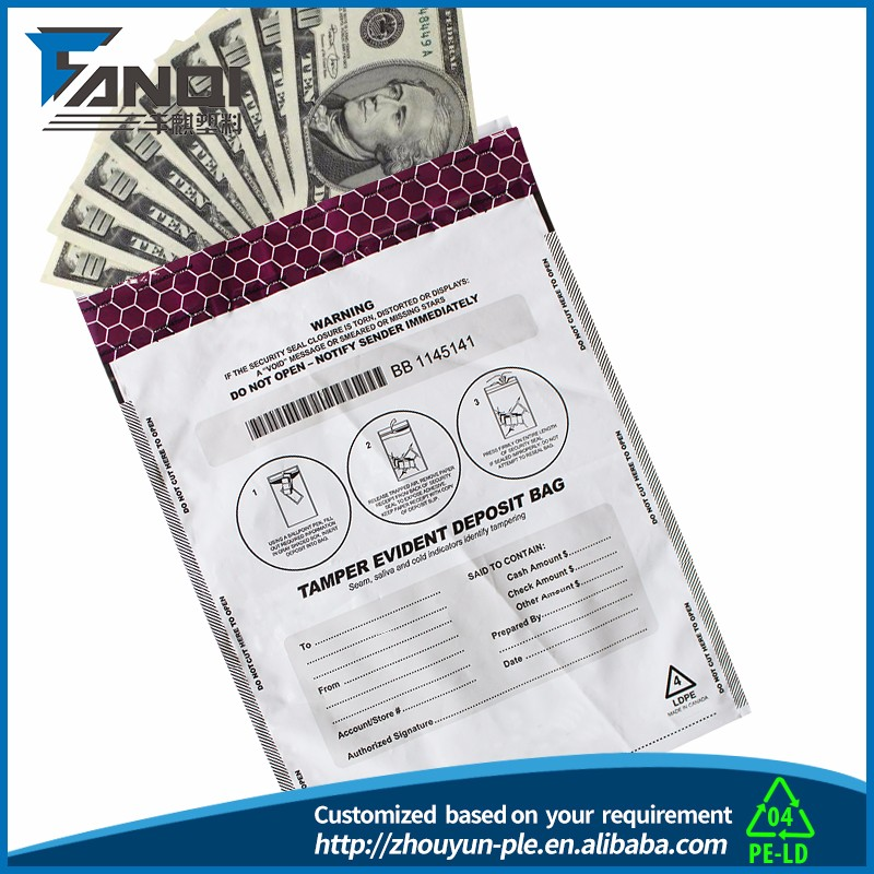 tamper proof bags with serial/Cash Bag Making/secure money bags