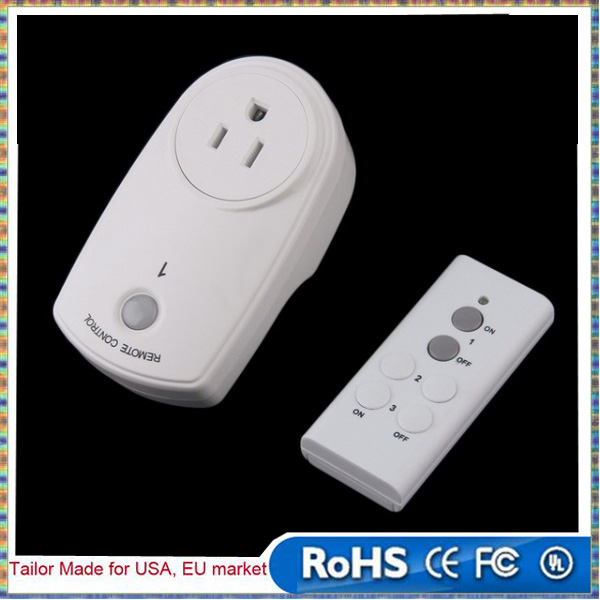 White Switch Socket Adapter With Wireless Remote Control Home Mains US Plug