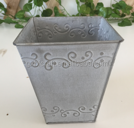 Antique square embossed metal steel stainless flower pot stand