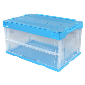 600*400mm foldable plastic crate with lid collapsible plastic crates