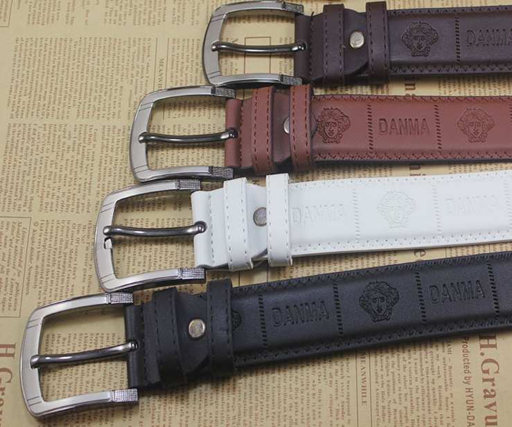 Mens pu leather pin buckle belt with embossing logo