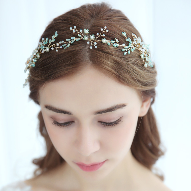 Small Fresh Hair Vine Green Natural Regression Pearl Tubular Beads Wedding Headband Dresses Hair Decoration Gift Headpiece