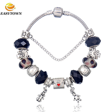 2016 New wholesale crystal beads bracelet bulk custom european charm bracelet