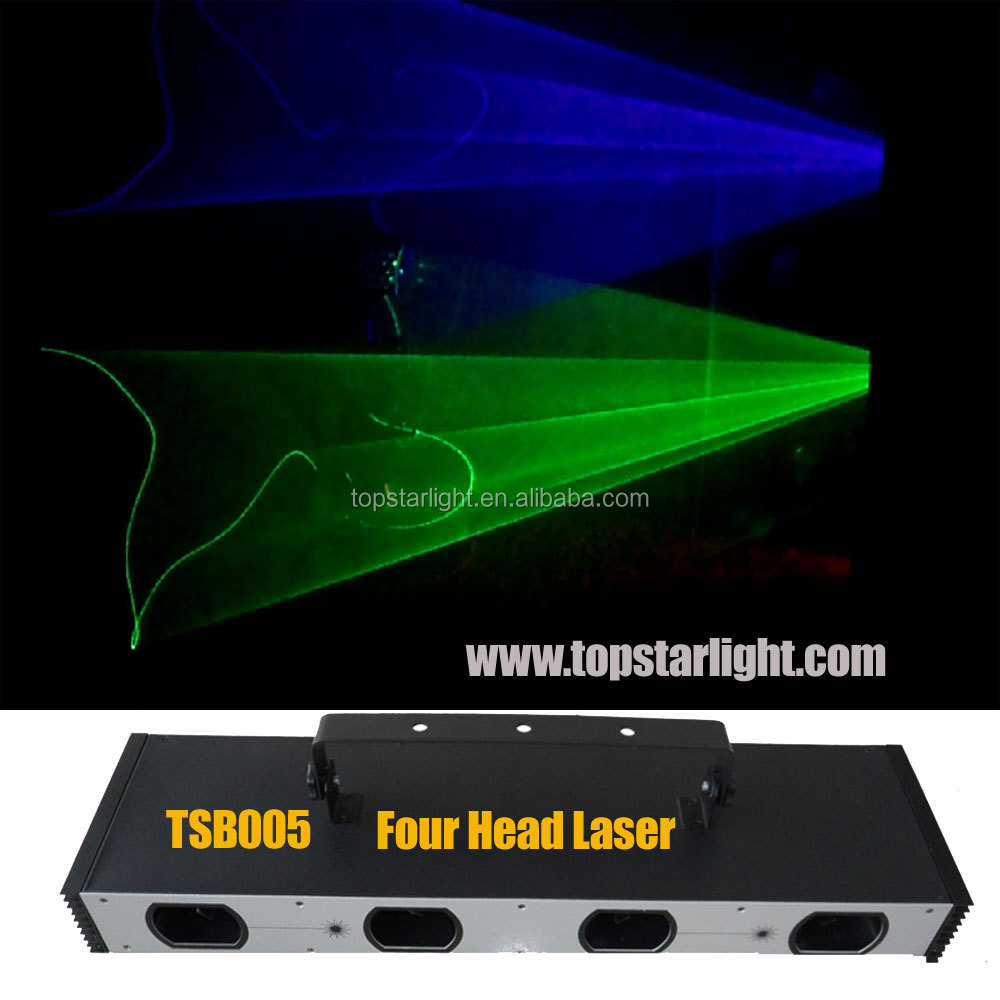 laser light dj Four head RGB or RGBY or RGB+UV color laser to make lights for discotheque